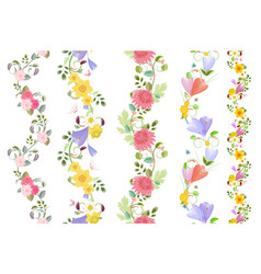 floral set of seamless borders with roses crocus vector image