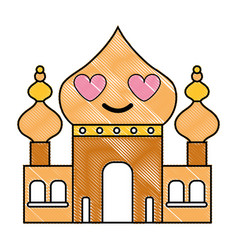 Grated taj mahal in love kawaii cartoon vector