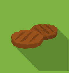 Grilled patties icon in flat style isolated on vector