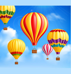 Hot air balloons background vector
