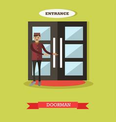Hotel doorman in flat style vector