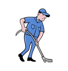 Male worker cleaning with vacuum cleaner vector image vector image