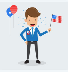 Man hand holding american flag of memorial day vector