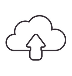 Monochrome contour with cloud upload service vector