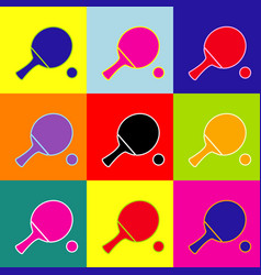 Ping pong paddle with ball pop-art style vector