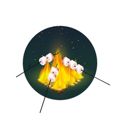 Roasting Of Marshmallows On Bonfire vector image