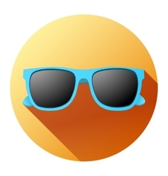 Round Summer Icon with sunglasses vector image vector image