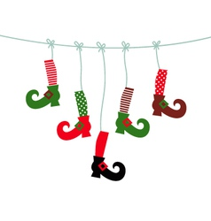 Santa legs symbols hanging isolated on white vector image