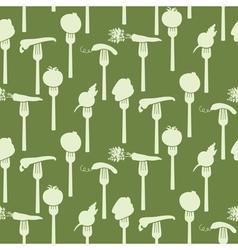 Seamless pattern of vegetables on fork vector image