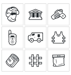 Security bank and money transport icons set vector