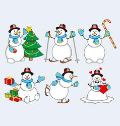 set of cartoon snowman vector image vector image