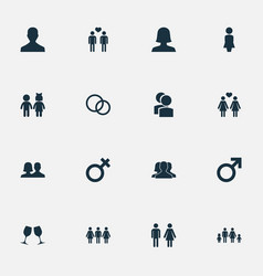 set of simple couple icons vector image vector image