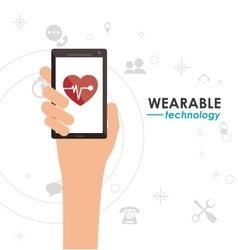 Smartphone heart monitoring wearable technology vector
