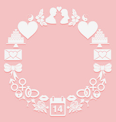 St valentine day round frame icons on a pink vector