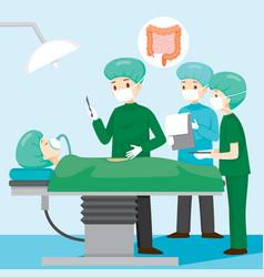 Surgeon operate on appendicitis patient vector