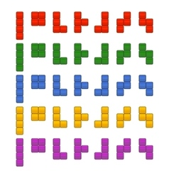 Tetris bricks pieces total set for game vector