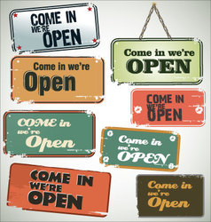 Vintage grunge sign Open vector image