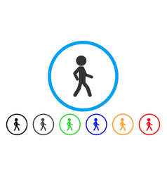 Walking child rounded icon vector