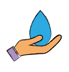 Water drop symbol to environment care in the hand vector