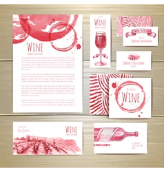 Watercolor wine concept design corporate identity vector