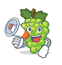 With megaphone green grapes character cartoon vector