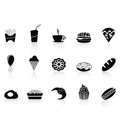 Black fast food icon vector