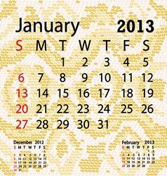 january 2013 calendar albino snake skin vector image