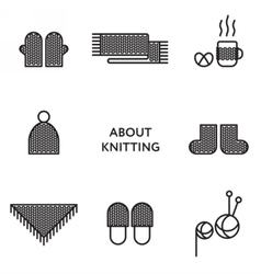 Knitted clothing set of flat line icons modern vector