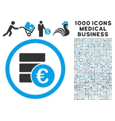 Euro money database icon with 1000 medical vector