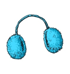 Bright blue fluffy fur ear muffs vector