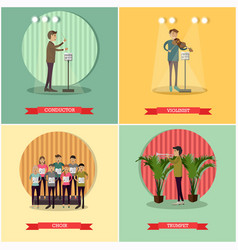 Set of orchestra concept posters in flat vector