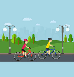 Cycling man with woman on bikes ride in city park vector