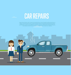 Car repairs banner with people near broken pickup vector