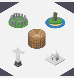 Isometric architecture set of england rio india vector