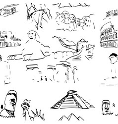 Famous global landmark set seamless pattern vector