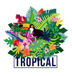 Tropical exotic plants colorful composition vector