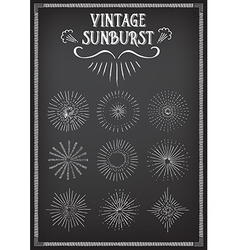 Sunburst ray design chalkboard doodle drawing vector