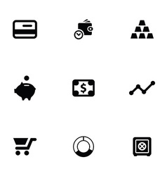 Finance 9 icons set vector