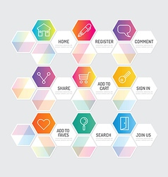 Modern geometric banner button with social icon vector