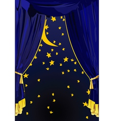 Starry night curtains vector