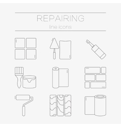 Set of line icons for diy finishing vector