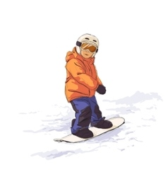 Kid on snowboard vector