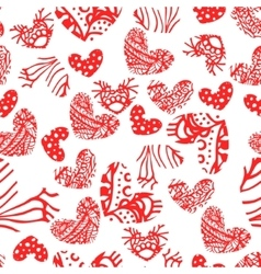 Ink zentangle heart seamless pattern vector