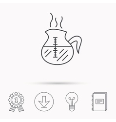 Coffee kettle icon hot drink pot sign vector