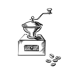 Coffee mill grinder with coffee beans vector