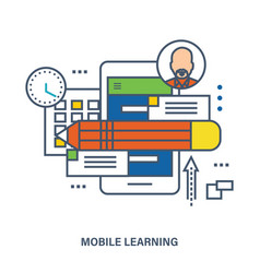 Concept of education mobile learning vector