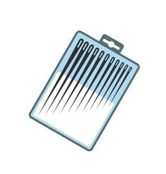Different sewing needles in a box flat icon vector