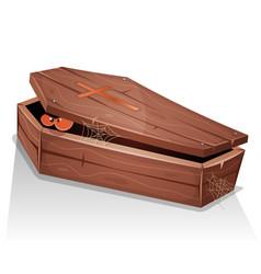 Eyes of vampire inside wood coffin vector