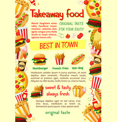 fast food burger and drink banner template vector image