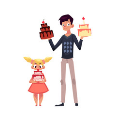 father and daughter holding birthday cakes vector image vector image